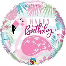 Happy Birthday Flamingo Foil Helium Balloon